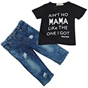 MA&Baby Newborn Toddler Infant Baby Boys Clothes Letter Printed T-Shirt Top+Pants Outfits (2T, Black)