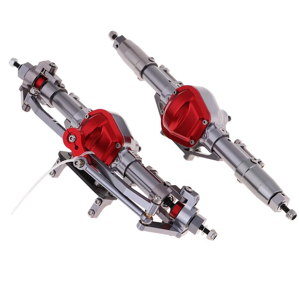 Homyl 1 Paar Metall Vordere Hintere Achsen Zubehör Kit für 1:10 Axial SCX10 D90 RC Auto - Silber + Rot