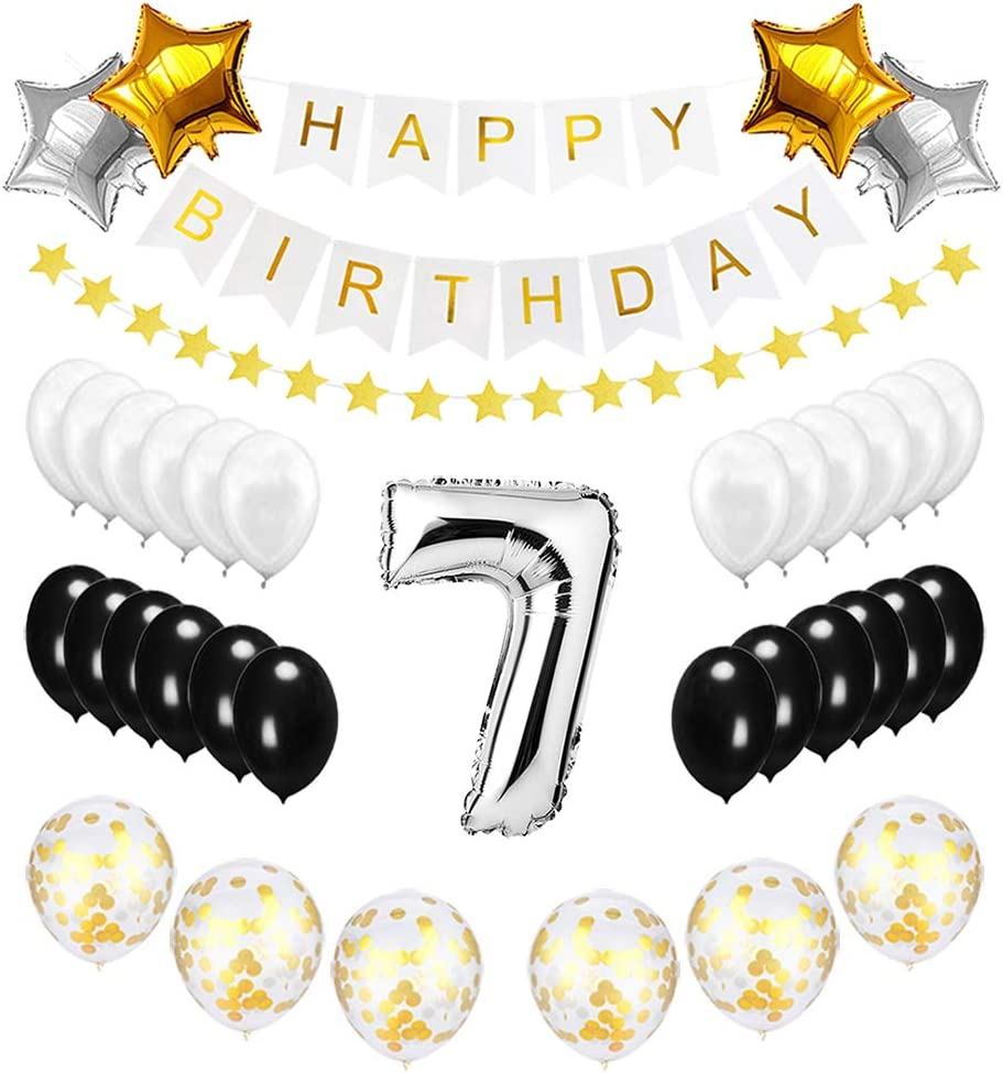 Happy to 7th Birthday Balloons Silver Set - Birthday Theme Decorations for 7 Years Old Party Supplies