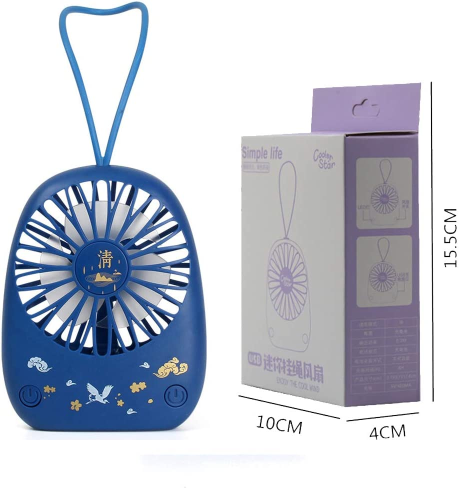 LHY NEWS Ventilador De Pedestal Silencioso, Mini Ventilador Portátil Pequeño, Ventilador De Carga USB De Escritorio, Reloj Despertador Ventilador De Mano,Azul,10 * 4 * 15.5CM