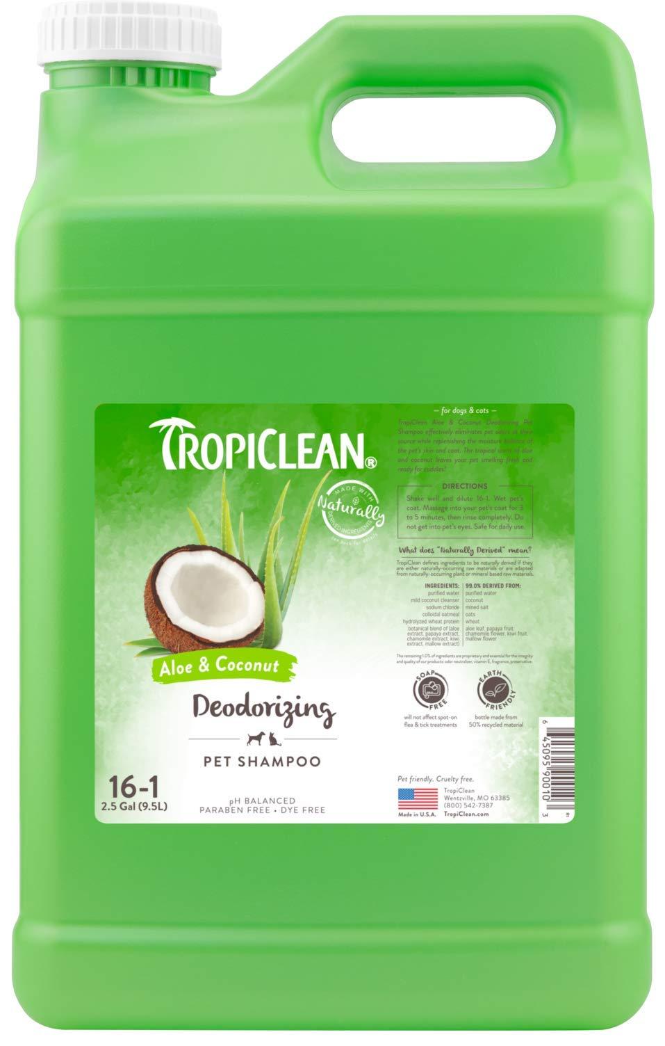 TropiClean Aloe & Coconut Deodorizing Pet Shampoo, 2.5 Gallon