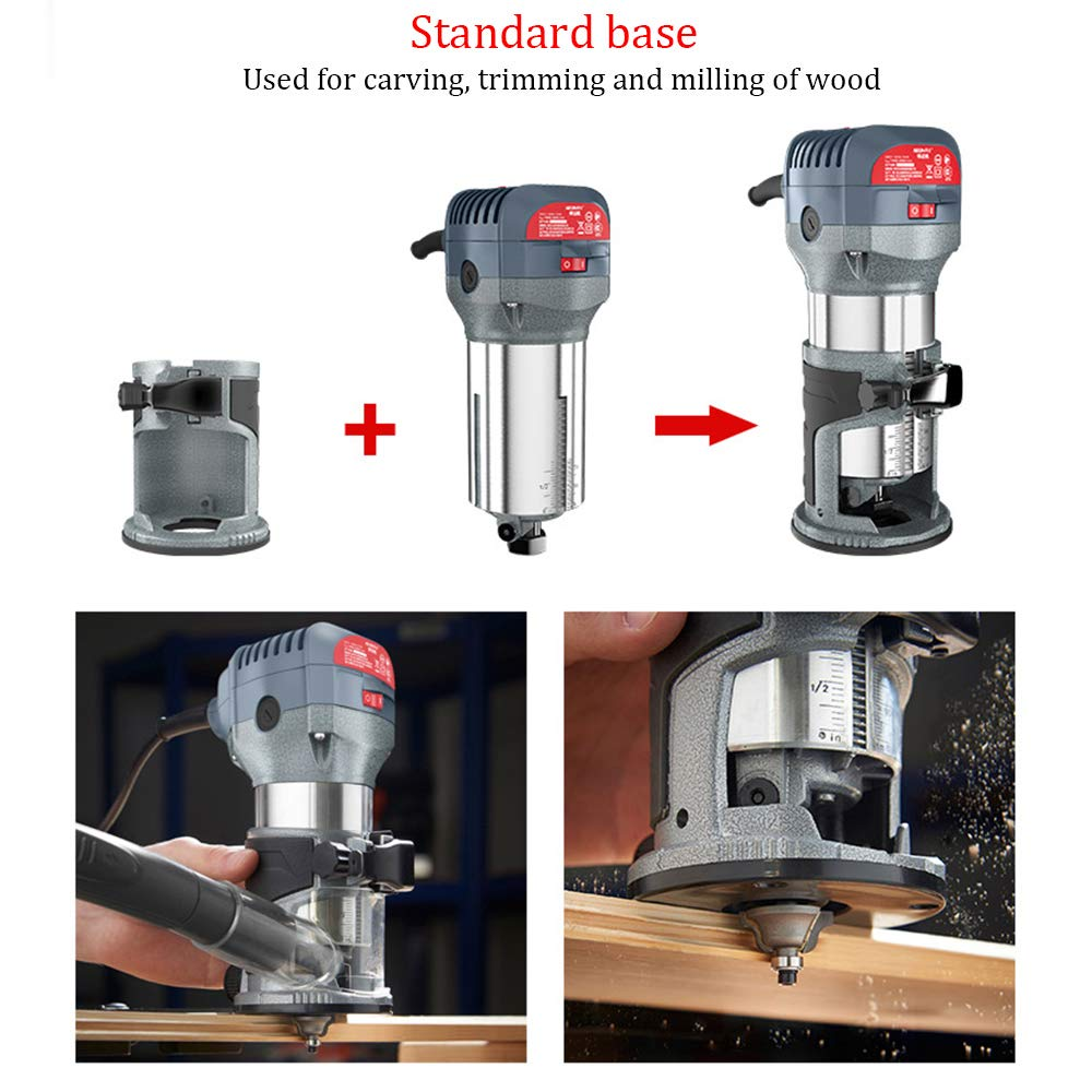 Compact Router Kit 220V 50Hz Woodworking Electric Trimming set Wood Clean Cuts Power Tool 30000RPM 600W (Router Kit) by FASTTOBUY (Image #3)