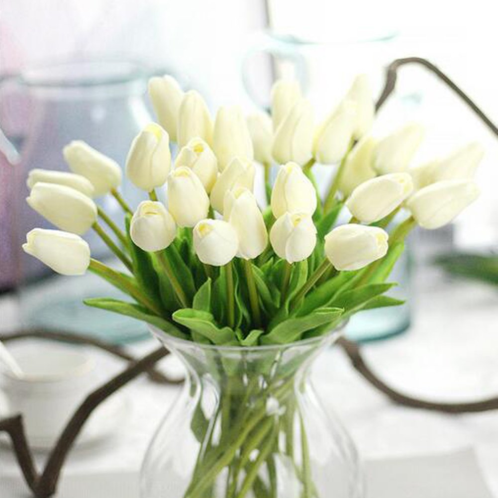 XHSP 30 pcs Real-touch Artificial Tulip Flowers Home Wedding Party Decor