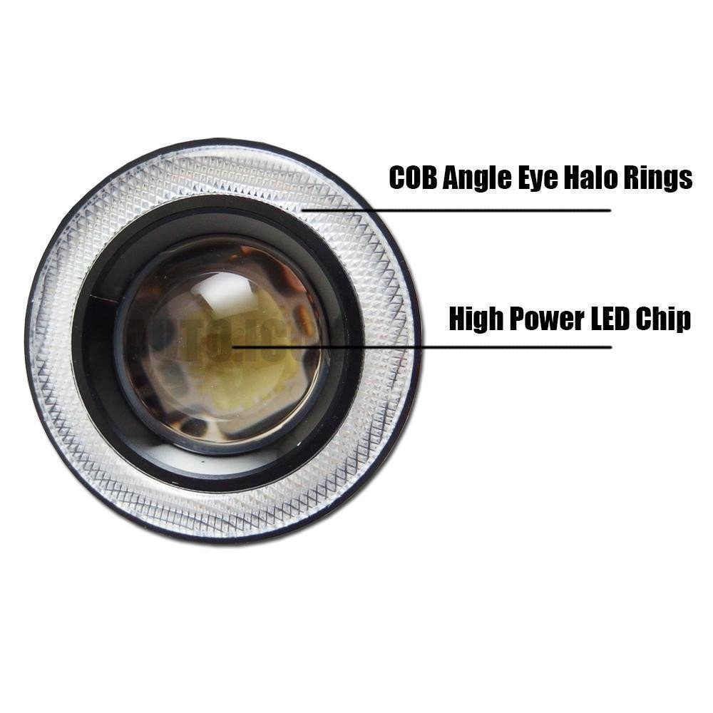Lzcat 2 st/ücke High Power 3 projektor Universal LED Nebelscheinwerfer Wei/ß COB Halo Angel Eye Ringe