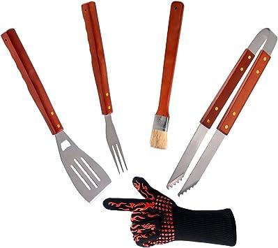 7 PCS Barbecue Outil Set spatule fourchette Pinces 4 brochettes Grill Ustensiles de Cuisine Jardin