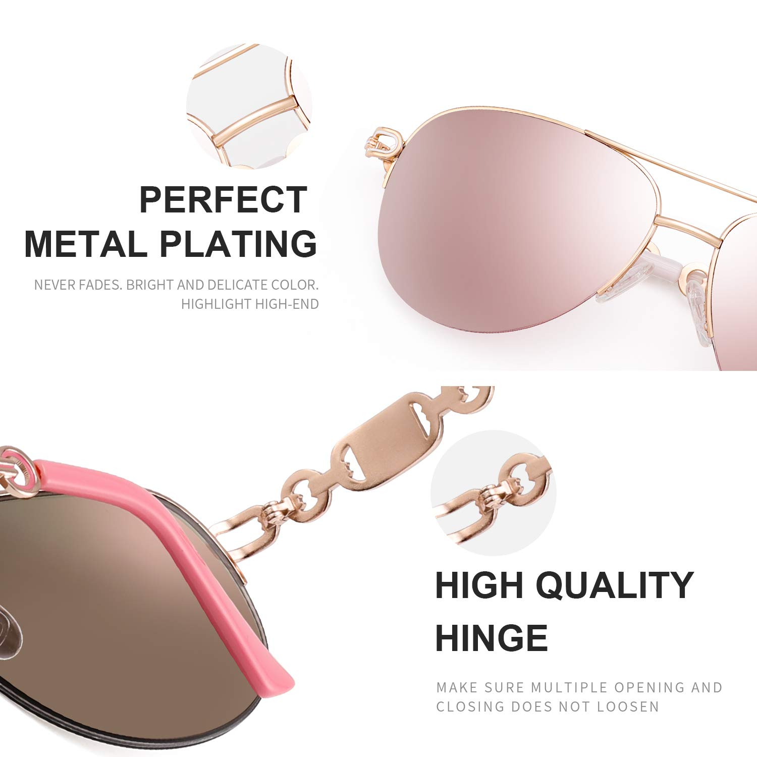 dfc622a0f9b3 Amazon.com: FENCHI Classic Aviator Sunglasses For Women Metal Frame With  Summer Hinges UV400 0257 (lens:blue revo/frame:shiny silver/temple:grey):  ...