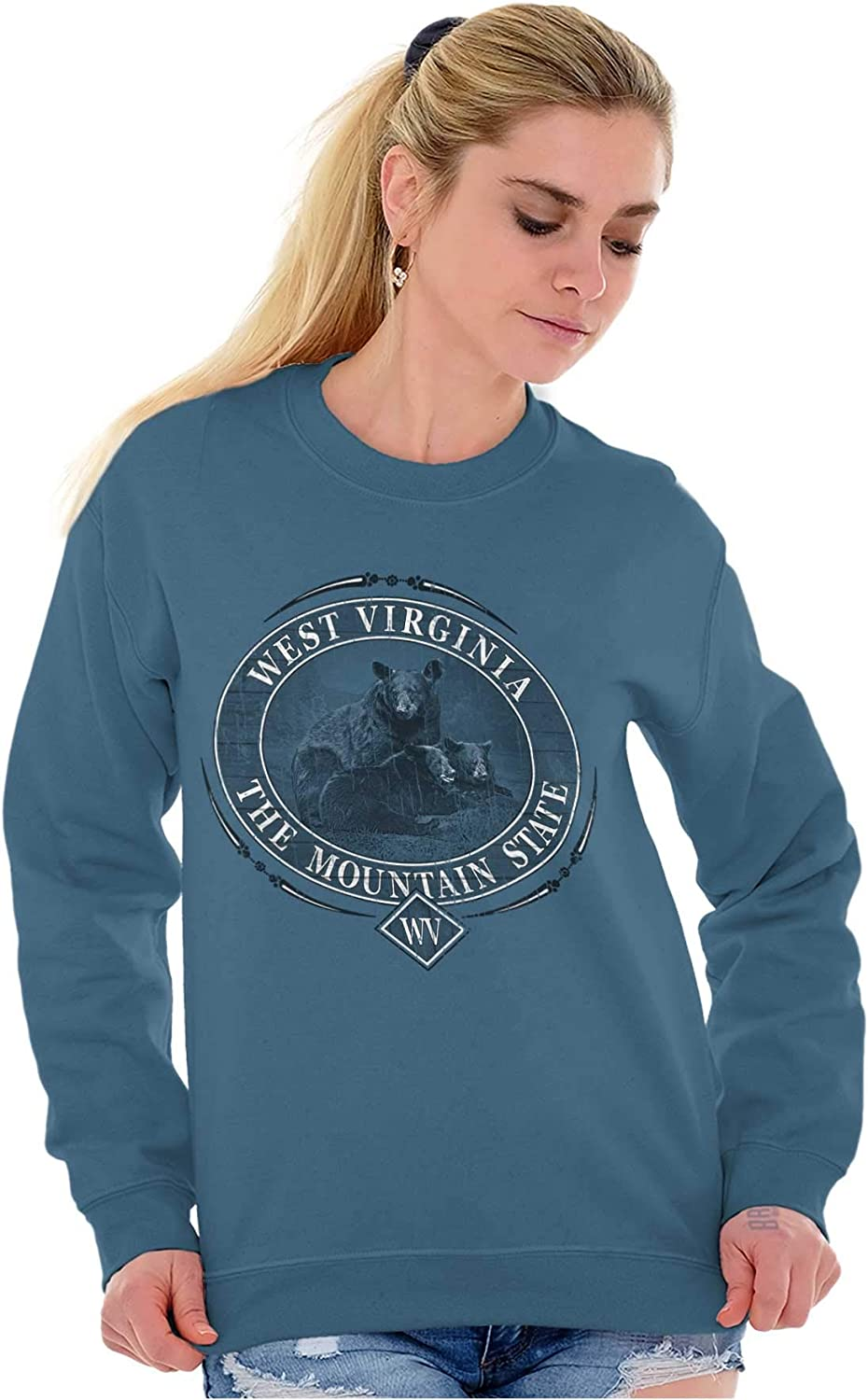 Classic Teaze West Virginia Mountain State Bear WV Gift Crewneck Sweatshirt