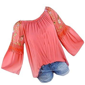 7d5361b94 ❤️ Camisas Mujer Tallas Grandes,Modaworld Moda Blusa de Mujer Floral  Bordado Encaje Flare Manga Camiseta Tops Blusas Elegante Señoras Tops ...