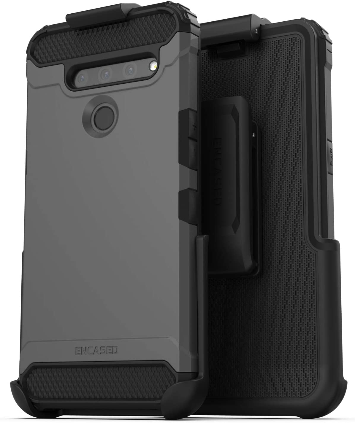 Encased LG V50 ThinQ Belt Clip Holster Case (2019 Scorpio Armor) Ultra Protective Tough Grip Cover with Holder - Gunmetal Grey