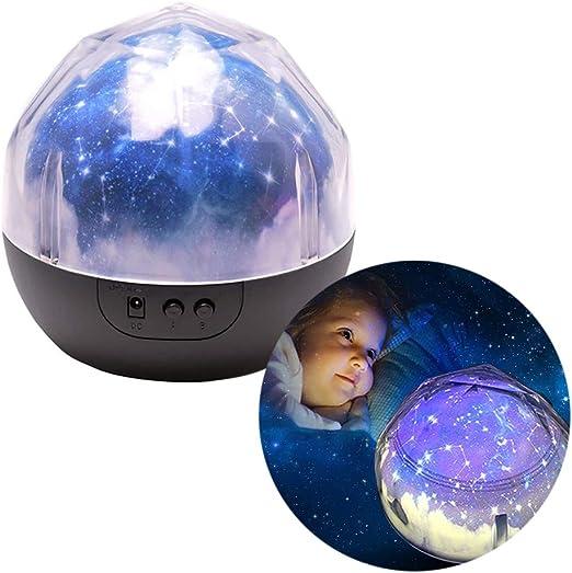 Novedad 360 Lámpara de Proyector de Luz Nocturna Giratoria Redonda ...