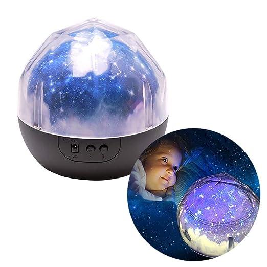 Novedad 360 Lámpara de Proyector de Luz Nocturna Giratoria Redonda (Proyector de Star Moon Sky) para Niños Universo Giratorio Proyector de Luz ...
