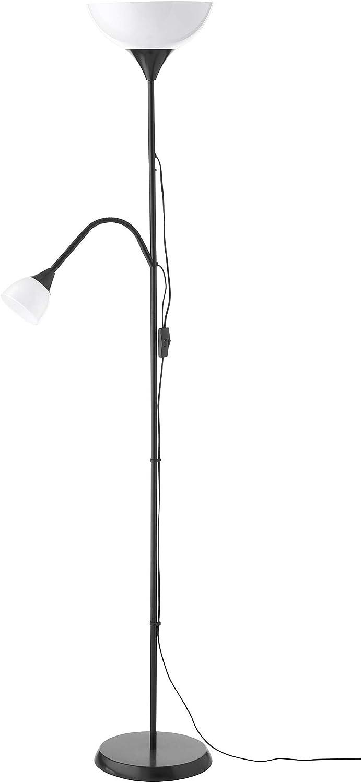 IKEA SKURUP BLACK FLOOR LAMP UPLIGHTER METAL ADJUSTABLE STANDING LIGHT
