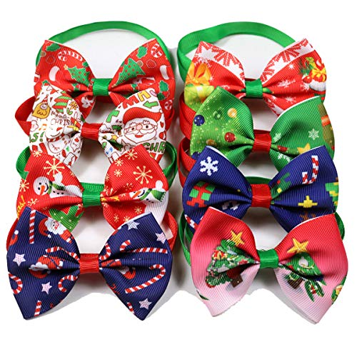 TAO BABY Cute Christmas/Halloween Dog Cat Bow Ties Adjustable Dog Bowties for Cat Puppy,Medium Dogs(10pcs/Pack) (Mixed Colors, Xmas Style) ()