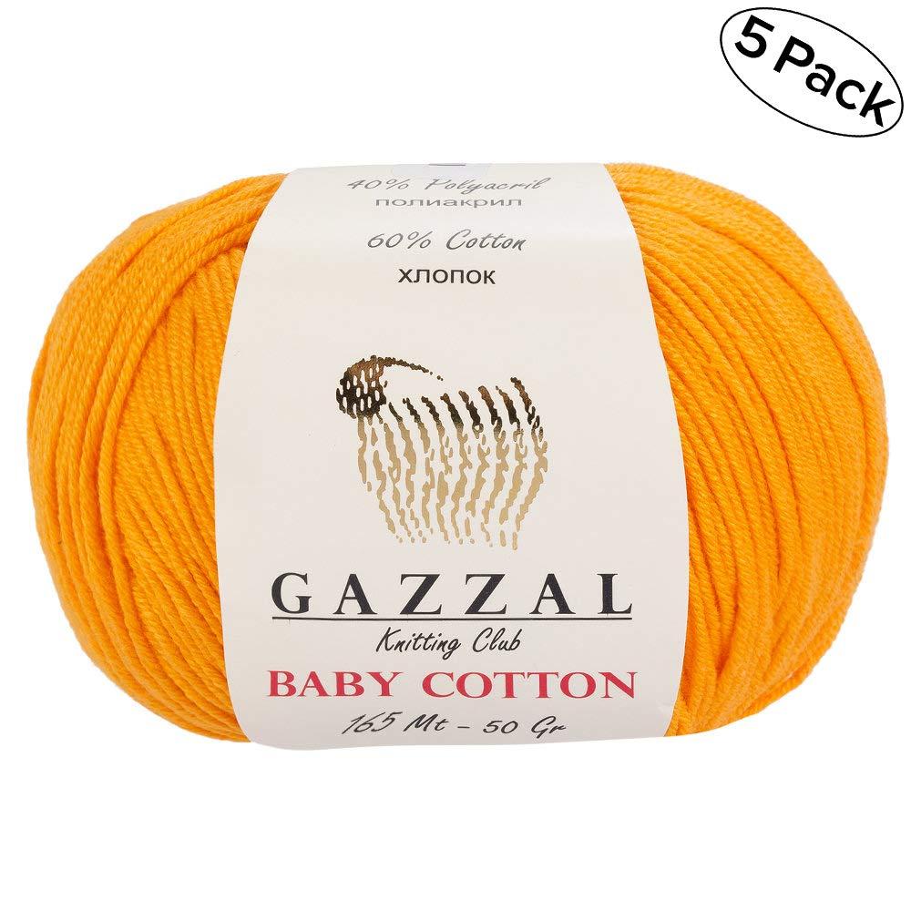 // 150 Yrds 50g Soft 5 Skein Gazzal Baby Cotton Each 1.76 Oz 60/% Cotton Pack 165m Total 8.8 Oz Blue - 3421 Fine Baby Yarn