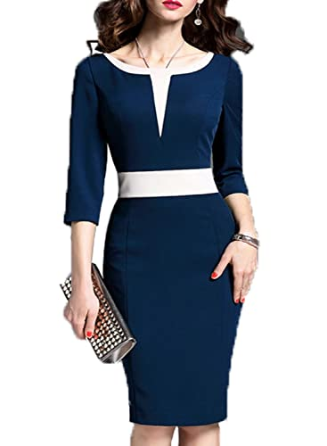 WOOSEA Women's 2/3 Sleeve Colorblock Slim Bodycon Business Pencil Dress