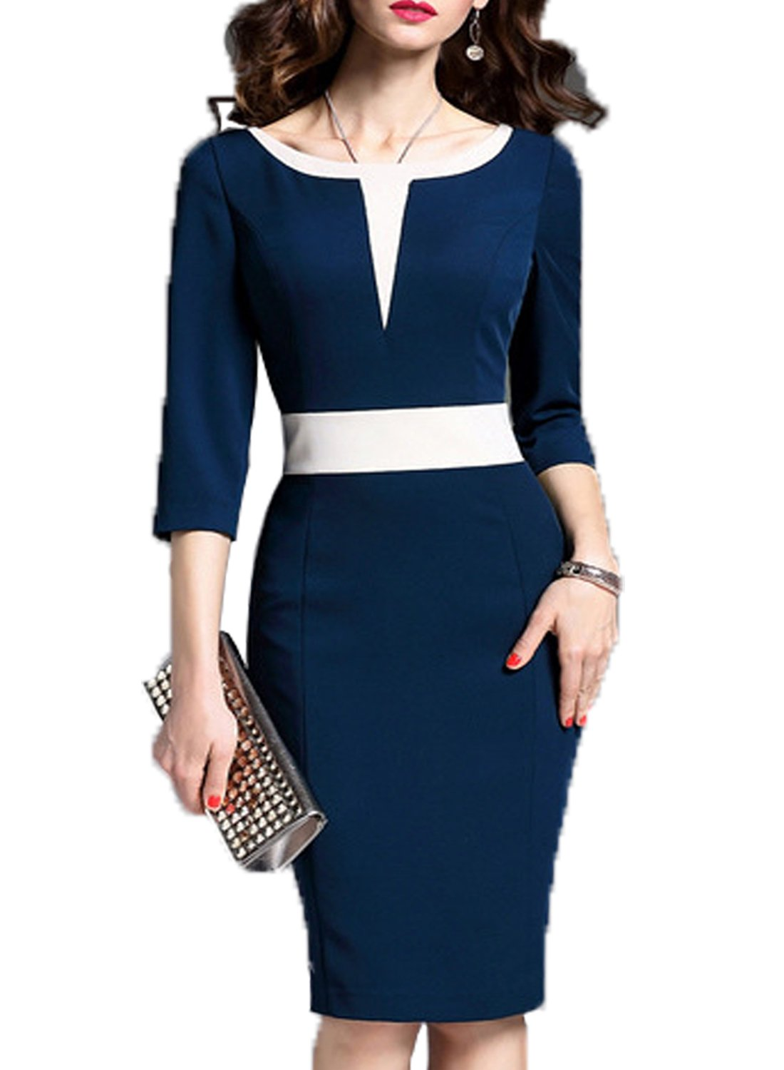 WOOSEA Women's 2/3 Sleeve Colorblock Slim Bodycon Business Pencil Dress (Medium, Navy Blue)