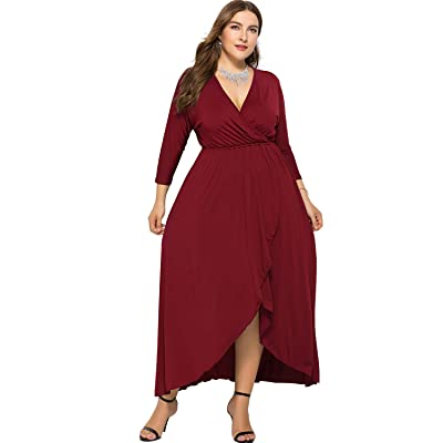 sanatty Womens Plus Size Dresses Long Sleeve Hem Maxi Dress Wrap Dresses V-Neck Dresses CasualPlain Dress XL-4XL at Women's Clothing store