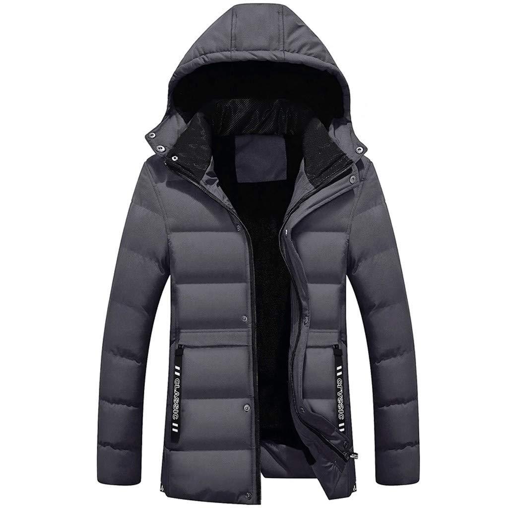 LUCAMORE Fashion Mens Casual Pocket Button Down Jacket Top Coat Windbreaker Winter Warm Coat Zipper Jacket Gray by Luca-Coat