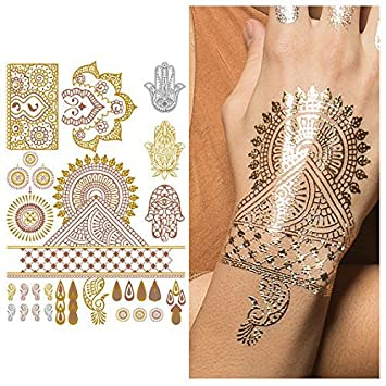 88fb7df98d07e Amazon.com : Tattify Metallic Hamsa And Indian Handpiece Temporary Tattoo -  Indian Princess Sheet 2 (Set of 1 sheet) - Other Styles Available -  Fashionable ...