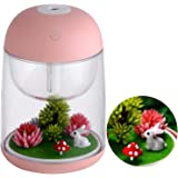 GENNISSY 180Ml USB Cute Mini Landscape Air Humidifier Essential Oil Diffuser with 7 Colors LED Night Light, Waterless Auto Sh