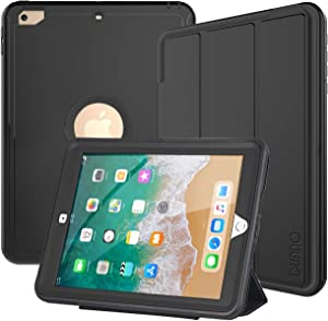 DUNNO iPad 9.7 Inch Case 2017/2018, iPad 6th/5th Generation Case, Three Layer Heavy Duty Full Protection Smart Case with Detachable Screen Cover/Stand for iPad 9.7 Released in 2018/2017 (Black)