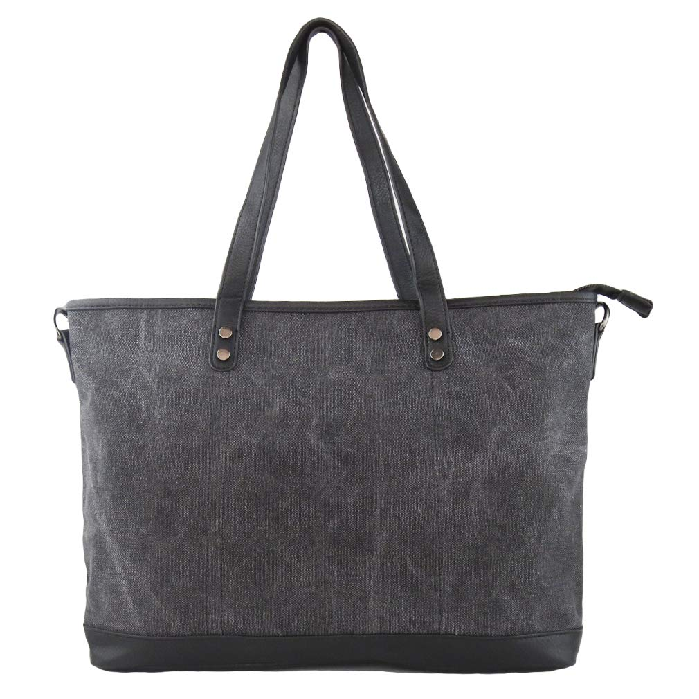Imiflow Women's Work Bag Large Top Handle Shoulder Tote Satchel Bag Canvas Shopper Handbag Purse 006 Charcoal