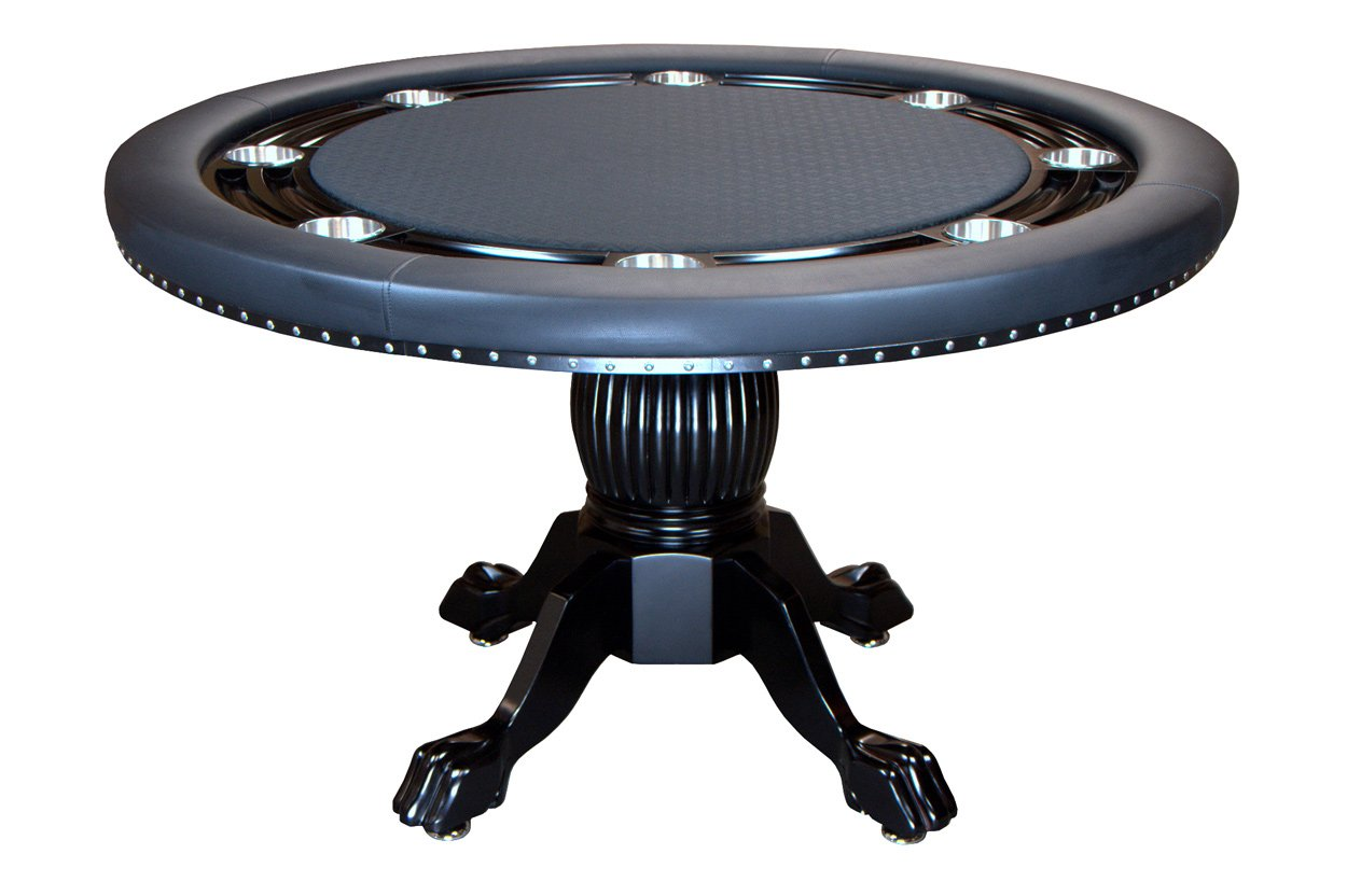 BBO Poker Nighthawk Poker Table for 8 Players with Black Speed Cloth Playing Surface, 55-Inch Round by BBO Poker