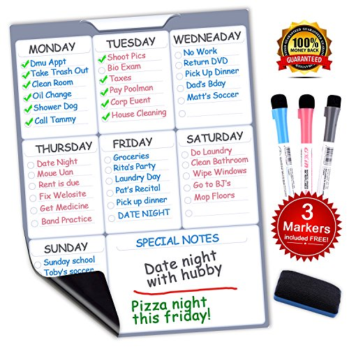 """Swtroom Magnetic Dry Erase Board, Refrigerator Whiteboard 12"""" X 16"""" Weekly Planner Calendar with 3 Markers and..."""