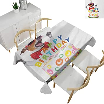 Stupendous Amazon Com Kids Birthday Microfiber Tablecloth Party Dog At Caraccident5 Cool Chair Designs And Ideas Caraccident5Info