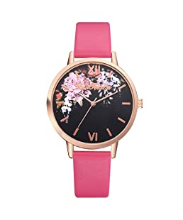 Womens Quartz Watches, Fashion Luxury Wrist Watch Stainless Steel Dial Crystal Bracelet Watches for Girls Gift Present,Leather Band Watch