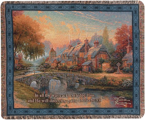 - Manual Thomas Kinkade 50 x 60-Inch Tapestry Throw with Proverb, Cobblestone Bridge