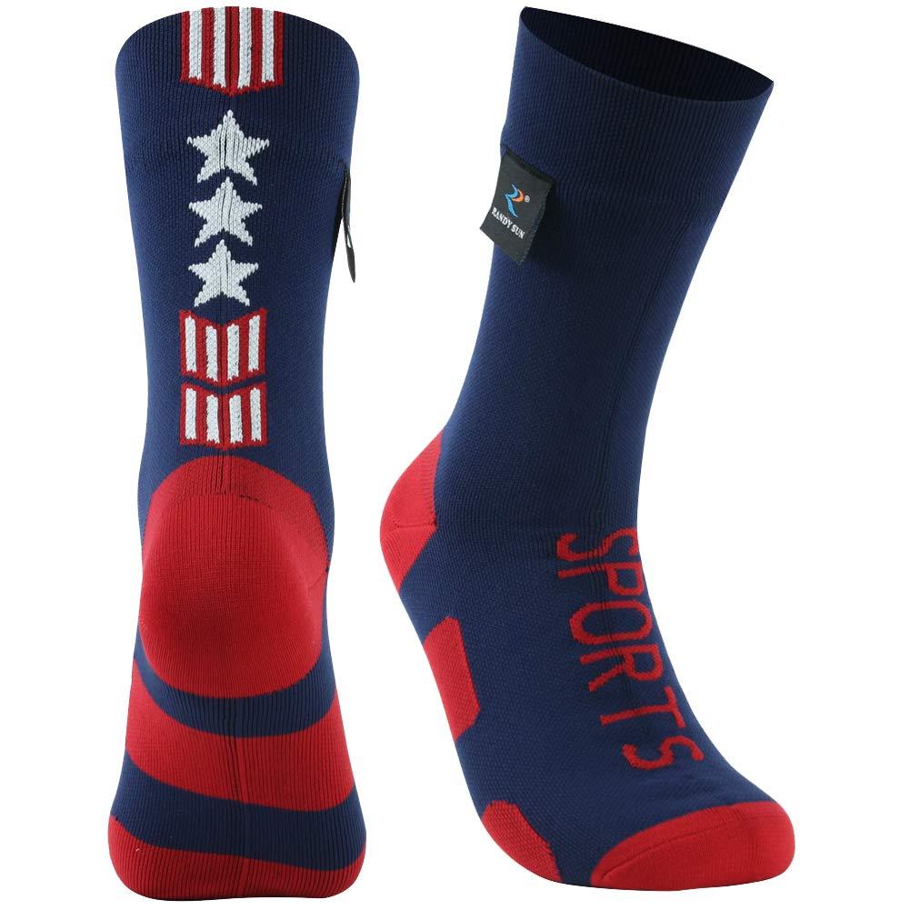 RANDY SUN Flag Socks, Dry Moisture-Wicking 100% Waterproof Unisex Running Hiking Socks, 1 Pair-Blue-Mid Calf Socks,Small by RANDY SUN