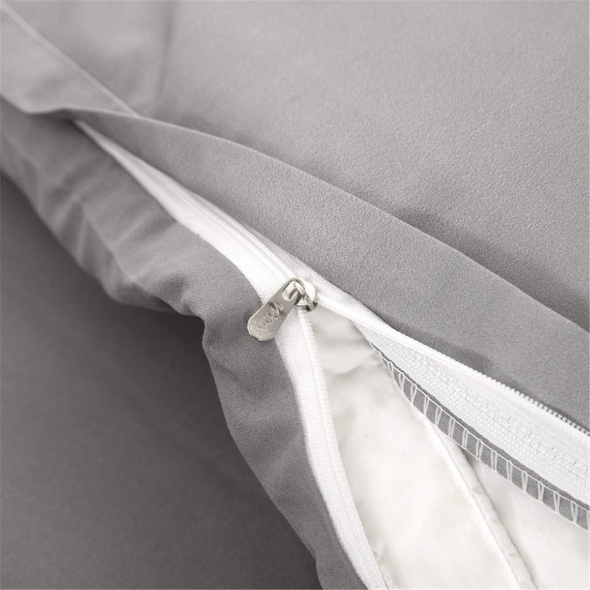 Guidear Grey White Quilt Duvet Cover with Zipper Closure 3 Pieces Hypoallergenic Soft Microfiber Duvet Cover with 2 Pillowcase Double 200 200cm