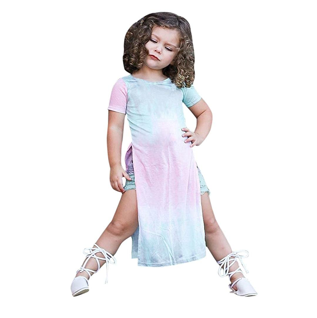 Remiel Store Kids Girls Short Sleeve Pageant Party Princess Slit Dress