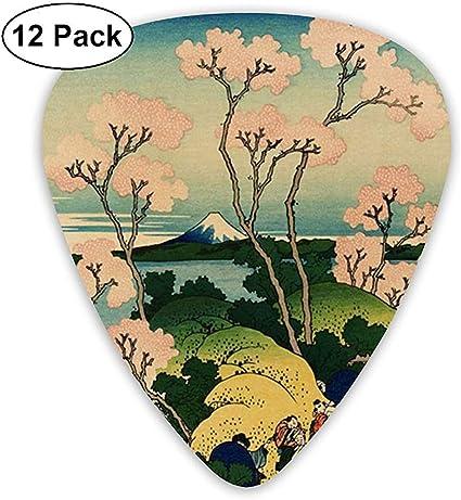 Hokusai Japan Ink Cherry Blossom Mount Fuji 12 Pack Púas de guitarra, guitarras eléctricas y acústicas: Amazon.es: Instrumentos musicales