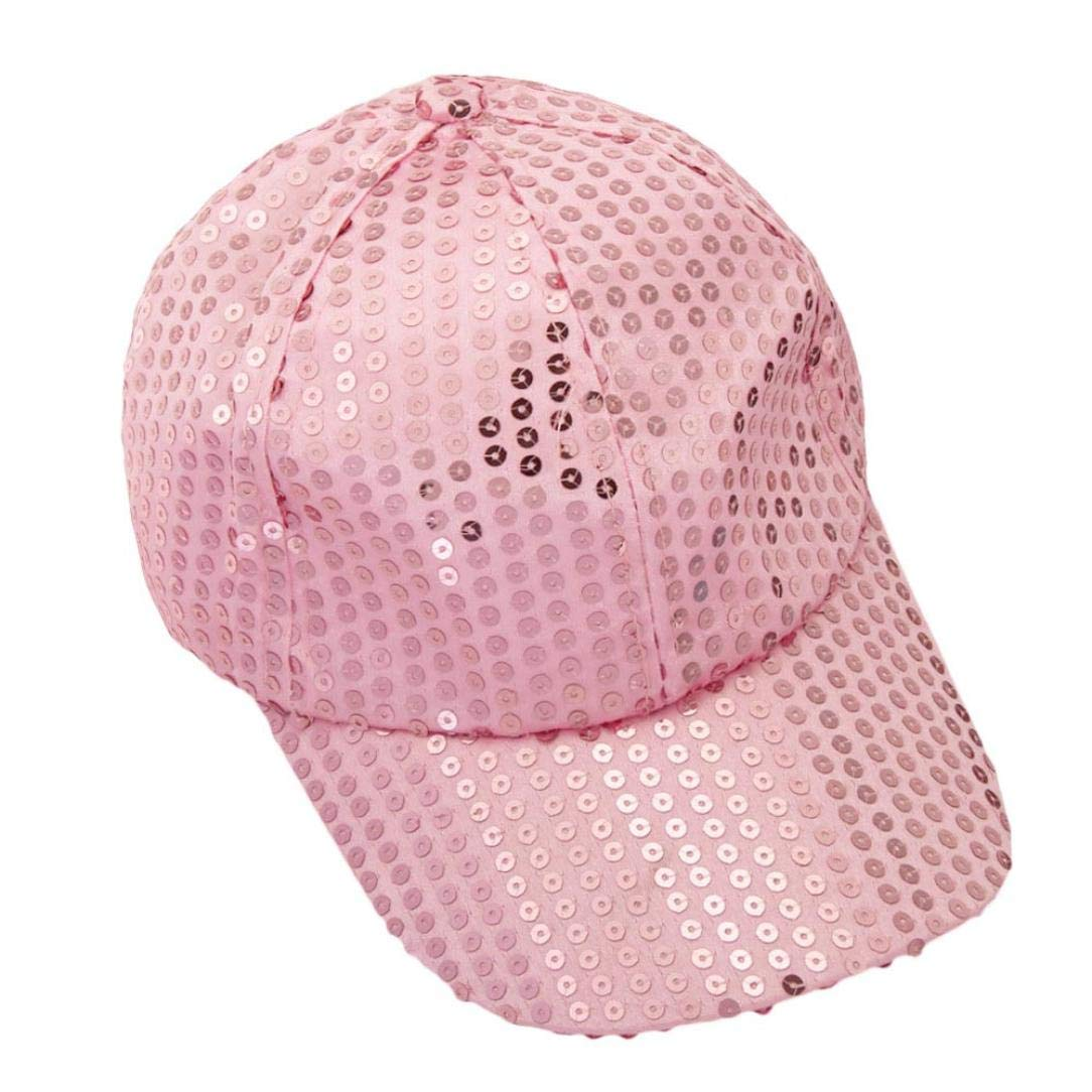 CSSD Fashion Women Ponytail Baseball Cap Sequins Shiny Messy Bun Sun Adjustable Caps (Pink)