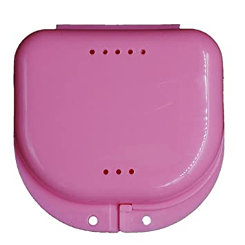 Denture Box Case, Leoy88 Small Size Breathable Dental False Teeth Appliance  Container Storage Boxes (Pink)