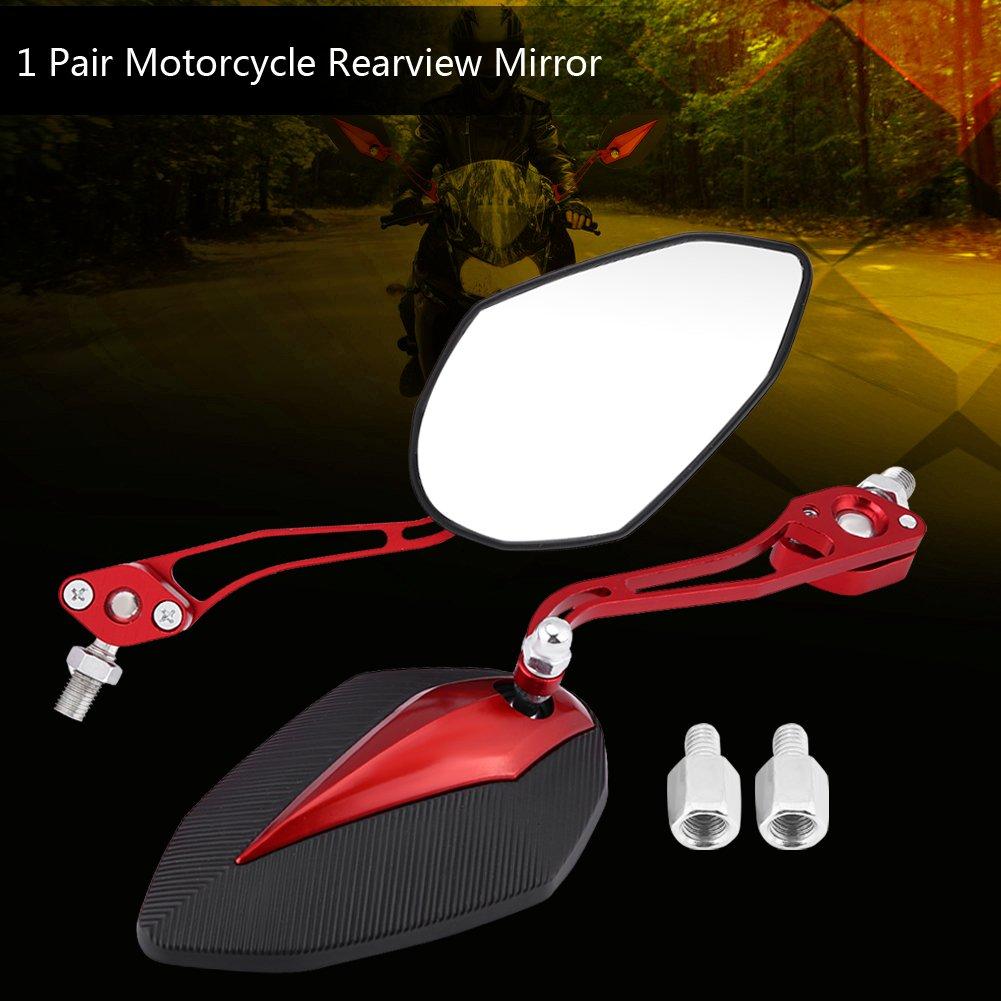espejos retrovisores laterales para motocicleta scooter retrovisores laterales ajustables de aluminio 10 mm 1 par de espejos retrovisores universales para motocicleta 8 mm
