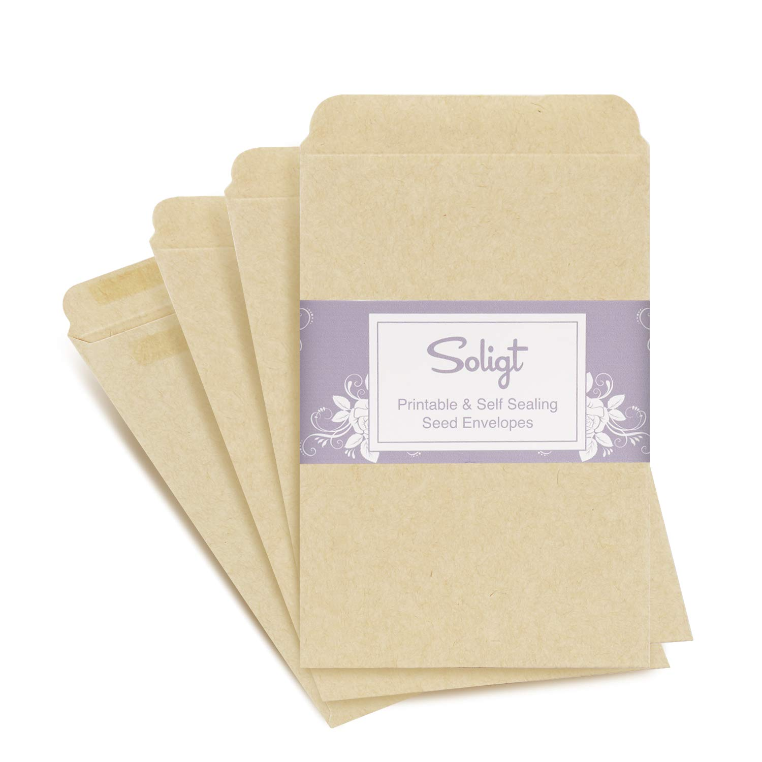 Self-Sealing, Printable Seed Packet Envelopes - 100 Counts, 3'' x 4.5''