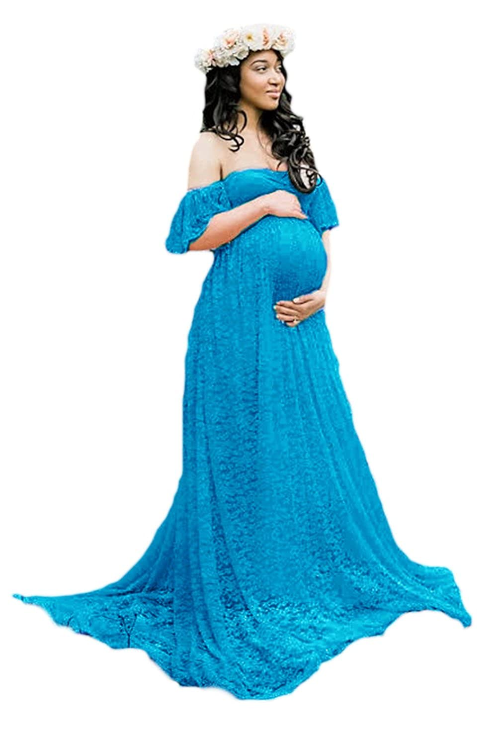 Lettre d'amour Women Off The Shoulder Lace Maternity Bridal Gowns Wedding Dress CAFEQQ012