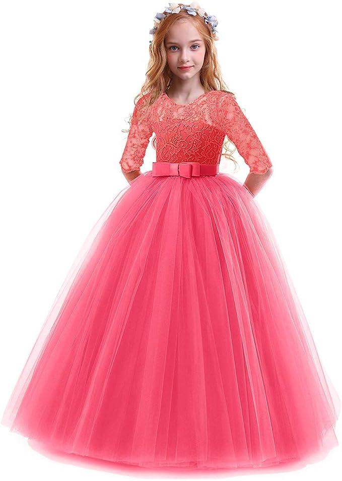 Vestiti Eleganti Per Matrimonio Per Ragazze.Obeeii Bambina Vestito Principessa In Pizzo Manica Mezza