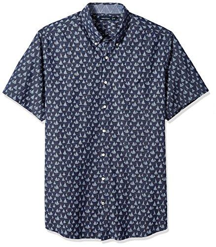Nautica Men's Tall Short Sleeve Signature Print Button Down Shirt, Maritime Navy, 6X Big