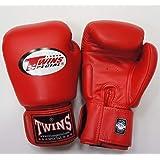 新TWINS ツインズ 本革製キックボクシング グローブ 赤 8オンス