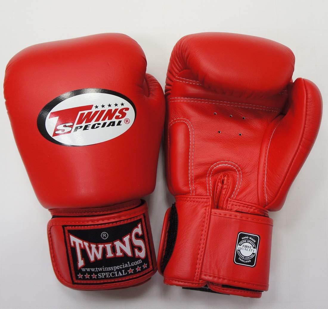 新 TWINS ツインズ 本革製 キックボクシング グローブ 赤 10オンス B0093I7MK6