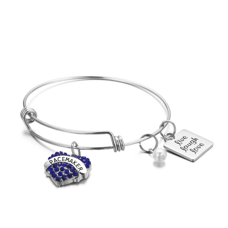 FLODANCER Medical Alert Bracelet, Personalized Bracelet Bangle and Child ID For Women,Silver Stainless Steel Adjustable charm for girls, live love laugh (pacemaker)