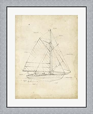 Amazon sailboat blueprint iii by ethan harper framed art print sailboat blueprint iii by ethan harper framed art print wall picture flat silver frame malvernweather Image collections