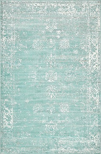 (Unique Loom 3137809 Sofia Collection Traditional Vintage Beige Area Rug, 5' x 8' Rectangle, Turquoise)