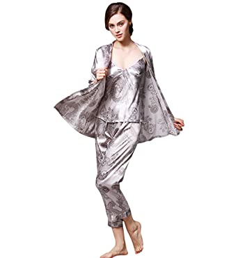 Surenow 3-Piece Dressing Gown Women s Night Shirt Pyjama Camisole Trousers  Dragon Print Complete Dressing 52f72a814
