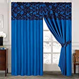 LUXURY Damask Curtains Pair Of Half Flock Pencil Pleat Window Curtain Fusion(TM) (66x72, Blue) by fusion