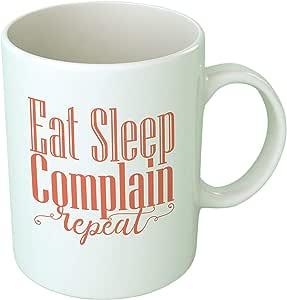 كوب قهوة Upteetude Eat Sleep - أبيض